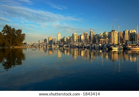Panoramic view of Vancouver harbor and Stanley Park. - stock photo