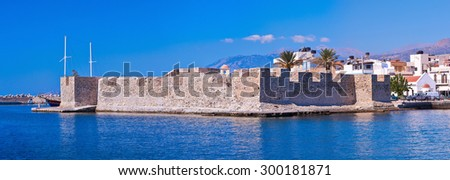 Panoramic view of venetian fortress at Ierapetra in Crete, Greece. - stock photo
