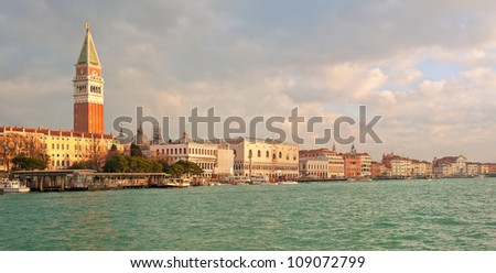 Panoramic view of Venice lagoon with Piazza San Marco and Doge's Palace - stock photo