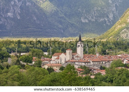 Panoramic view of Venzone recently awarded as one of the most beautiful villages in Italy