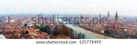 Panoramic view of Verona, Italy With Santa Anastasia Church and the Lamberti Tower, best for footer - stock photo