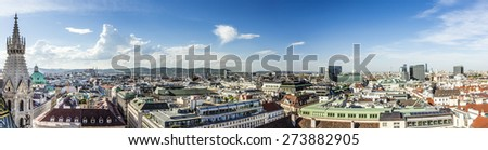Panoramic view of Vienna city on daytime in Austria - stock photo