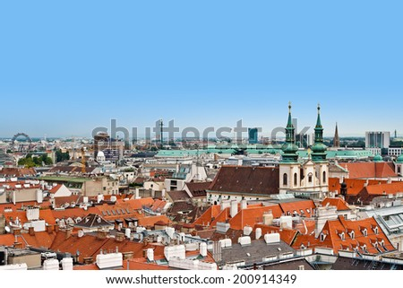 Panoramic view of Vienna from Saint Stephen`s Cathedral (Stephansdom), Vienna, Austria - stock photo