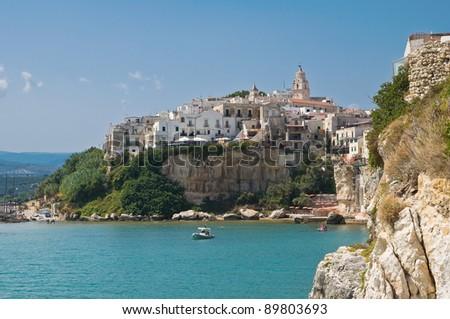 Panoramic view of Vieste. Puglia. Italy. - stock photo