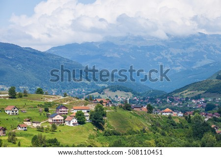 Panoramic view of villages near Plav town in Montenegro