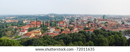 Panoramic view of Vilnius old town from Gediminas Tower, Lithuania