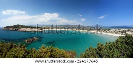 Panoramic view of Voidokilia beach, Gialova beach and lagoon and Pylos in Peloponnese, Greece - stock photo