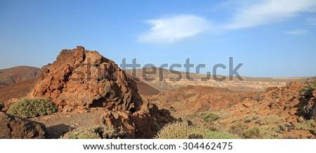 Panoramic view of volcanic desert. El Teide park, Tenerife, Canary Islands. - stock photo