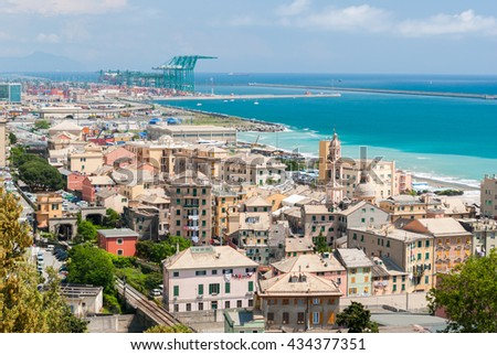 Panoramic view of Voltri, a district of Genoa - stock photo