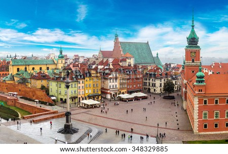 Panoramic view of Warsaw in a summer day n Poland - stock photo