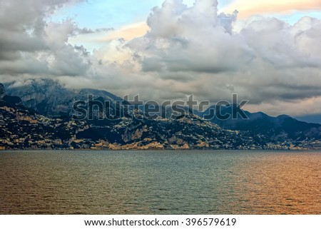 Panoramic view of waterfront near Genova, Italy, from seaside