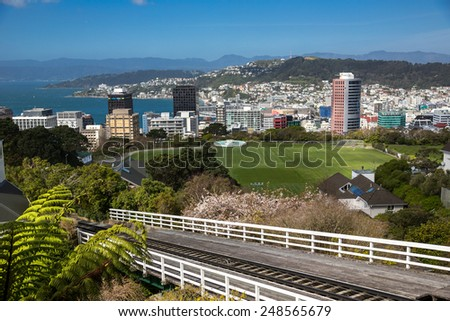Panoramic view of Wellington, New Zealand. - stock photo