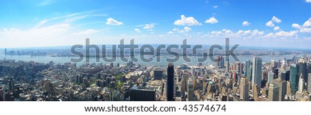 Panoramic view of West Manhattan from the top of the Empire State Building - stock photo