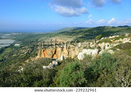 Panoramic view of Western Galil, Israel from National park Adamit - stock photo