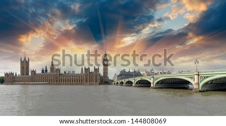 Panoramic view of Westminster Bridge and Houses of Parliament - London. - stock photo