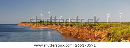 Panoramic view of wind power generators at North Cape, Prince Edward Island, Canada - stock photo