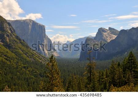 Panoramic view of Yosemite National Park in California USA - stock photo