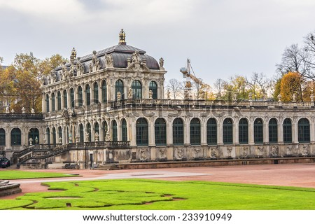 Panoramic view of Zwinger Palace (architect Matthaus Poppelmann) - royal palace since 17th century in Dresden. Today, Zwinger is a museum complex and most visited monument in Dresden.