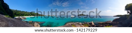 Panoramic view on a beach on the island Miang (No. 4), Similan islands, Thailand - stock photo