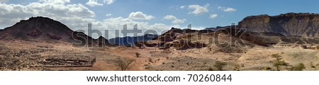Panoramic view on a desert canyon of geological park Timna, Israel