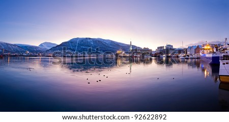 Panoramic view on a mountain from old Tromso, Norway - stock photo