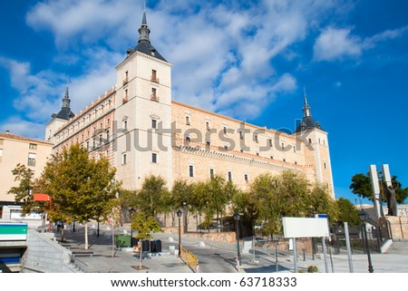 Panoramic view on Alcazar fortified palace inToledo, Spain - stock photo