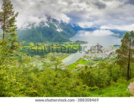 Panoramic view on Andalsnes City, Mountain Landscape and Fjord View, Rauma Municipality in More og Romsdal county, Norway. 