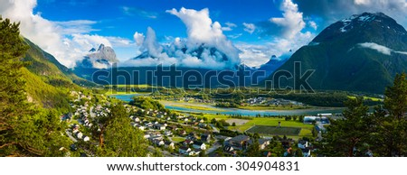 Panoramic view on Andalsnes City, NorwayMountain Landscape - stock photo