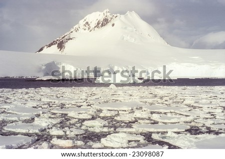 Panoramic view on Antarctica in sunny day - stock photo