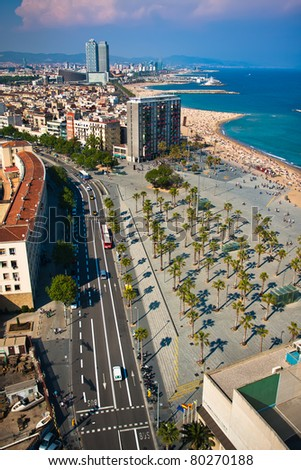 Panoramic view on Barcelona downtown, Spain