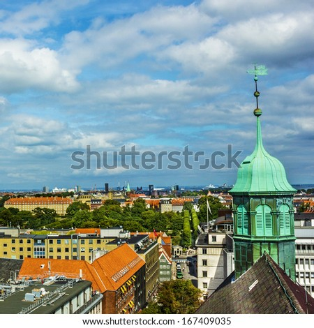 Panoramic view on Copenhagen, Denmark - stock photo