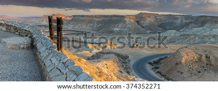 Panoramic view on desert of the Negev from the hills of kibbutz Sede-Boqer - stock photo