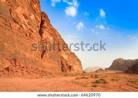 Panoramic view on desert rock formation - Wadi Rum, Jordan, Middle East