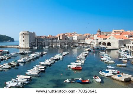 Panoramic view on Dubrovnik harbor, Croatia - stock photo