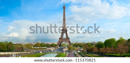 Panoramic view on Eiffel Tower, Paris, France. - stock photo
