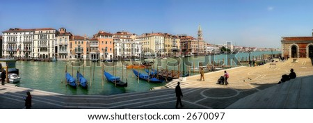 Panoramic view on famous Grand Canal from Santa Maria della Salute basilica in Venice, Italy. - stock photo