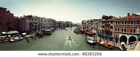 Panoramic view on famous Grand Canal from Santa Maria della Salute basilica in Venice, Italy - stock photo