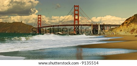 Panoramic view on Golden Gate bridge as seen from Baker Beach in San Francisco, California. - stock photo