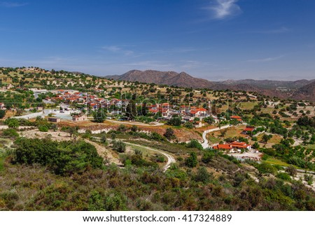 Panoramic view on Kato Lefkara - is the most famous village in the Troodos Mountains. Limassol district, Cyprus, Mediterranean Sea. Mountain landscape and sunny day. - stock photo