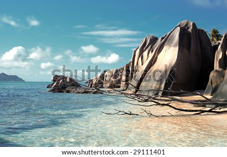 Panoramic view on La Dig island beach,Seychelles - stock photo