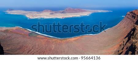 Panoramic view on La Graciosa island, Lanzarote, Spain - stock photo