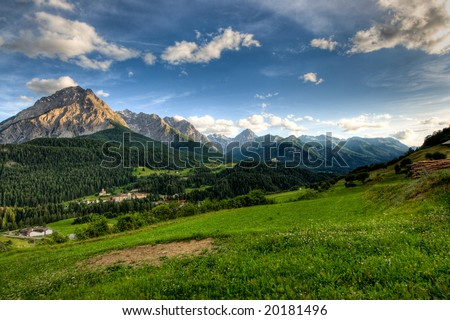 Panoramic view on late afernoon at Scuol, Switzerland. - stock photo