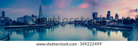 Panoramic view on London and Thames at twilight, from Tower Bridge with vintage effect effect - stock photo