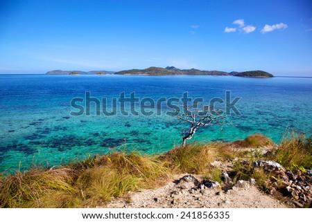 Panoramic view on Malcapuya Island, Busuanga, Palawan, Philippines - stock photo