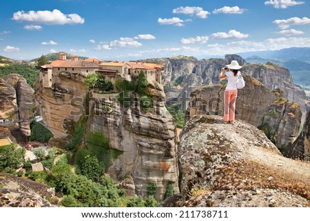 Panoramic view on Meteora in Trikala, Greece. - stock photo