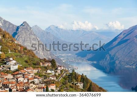 Panoramic view on Monte Bre, Lugano, Switzerland - stock photo