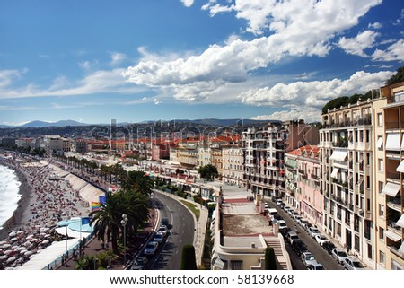 Panoramic view on Nice, France - stock photo