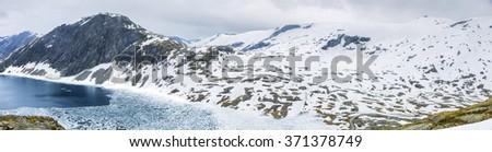 Panoramic View On Norway Mountain Landscape, Djupevatn, Norway - stock photo