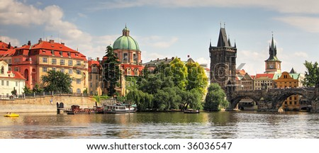 Panoramic view on old part of Prague. - stock photo