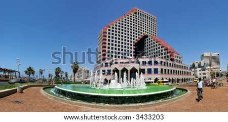 Panoramic view on Opera Building and fountain on plaza in front in Tel Aviv, Israel. - stock photo